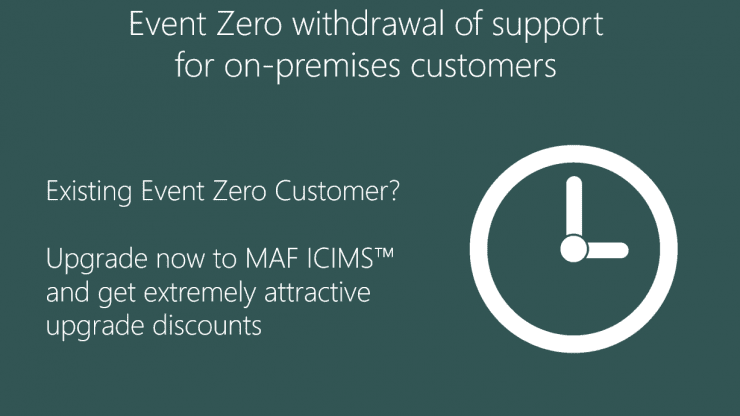 Event Zero withdrawal of support for on-premises customers