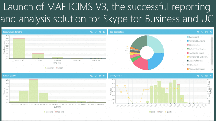 Launch of MAF ICIMS V3, the successful reporting and analysis solution for Skype for Business and UC