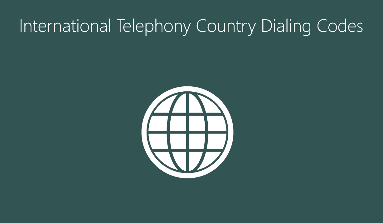 International Telephony Country Dialing Codes